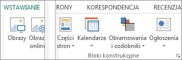 Zrzut ekranu przedstawiający grupę bloków konstrukcyjnych na karcie Wstawianie w programie Publisher