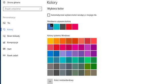 Kolory wiodące w ustawieniach personalizacji