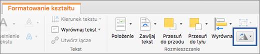 Przycisk Obróć na karcie Formatowanie