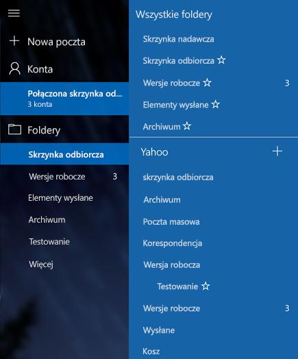 Dodawać nowe foldery z połączonych skrzynki odbiorczej