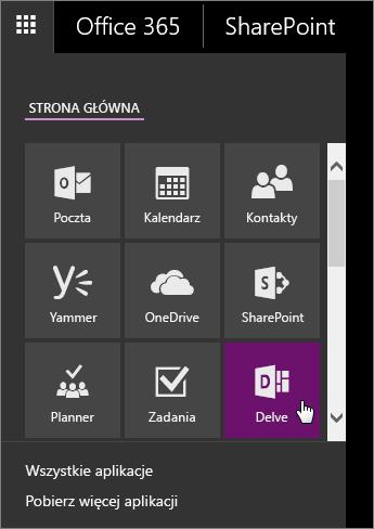 Zrzut ekranu przedstawiający okienko aplikacji usługi Office 365 z aktywnym kafelkiem aplikacji Delve.