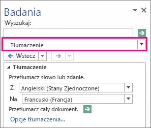 Opcja Tłumaczenie w okienku Poszukiwanie
