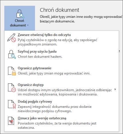 Menu Chroń dokument w programie Word dla usługi Office 365