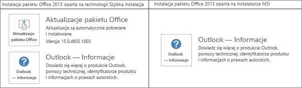 Grafika pokazująca, jak stwierdzić, czy instalacja pakietu Office 2013 jest oparta na technologii Szybka instalacja, czy na instalatorze MSI