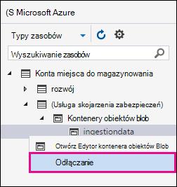 Kliknij prawym przyciskiem myszy spożyciu i kliknij przycisk Odłącz Aby odłączyć od obszaru Azure miejsca do magazynowania