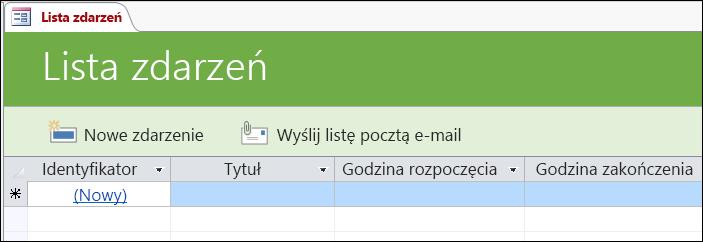 Formularz Lista zdarzeń w szablonie bazy danych Zdarzenia w programie Access