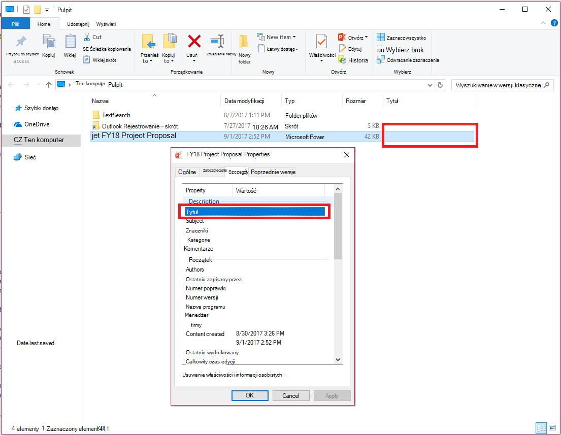 Właściwości dokumentów pakietu Office w Eksploratorze plików systemu Windows