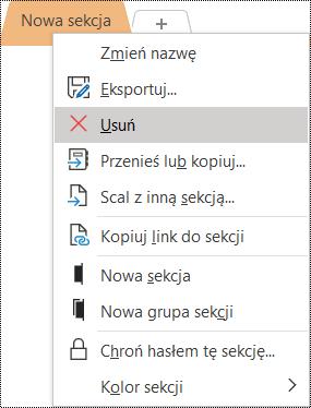Zrzut ekranu przedstawiający menu kontekstowe usuwania sekcji