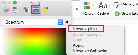 Wybieranie ikony obrazu w celu wybrania koloru z pliku