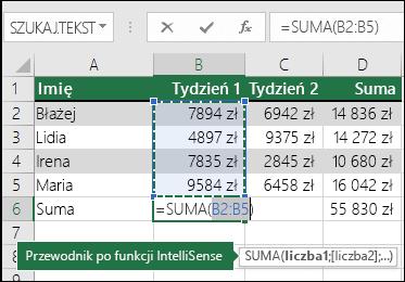 Komórka B6 przedstawia formułę sumy autosumowania: =SUMA(B2:B5)
