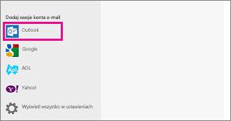 Strona Dodaj konta e-mail w aplikacji Poczta systemu Windows 8