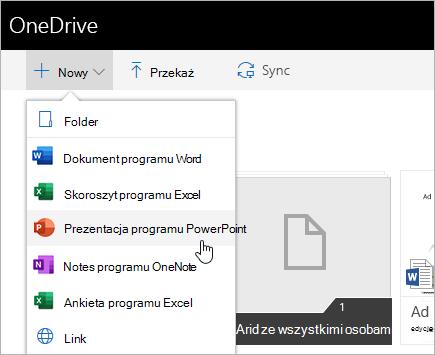 Tworzenie plików w usłudze OneDrive dla Firm