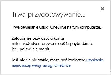 Zrzut ekranu przedstawiający okno dialogowe Trwa przygotowywanie do synchronizacji wyświetlane podczas konfigurowania usługi OneDrive dla Firm do synchronizacji