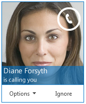 Zrzut ekranu alertu z informacją o połączeniu przychodzącym, czyli że ktoś do Ciebie dzwoni