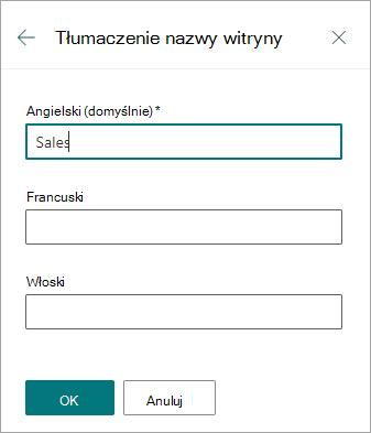 Tłumaczenie nazwy witryny