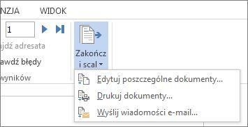Zrzut ekranu przedstawiający kartę Korespondencja w programie Word oraz polecenie Zakończ i scal, a także jego opcje.