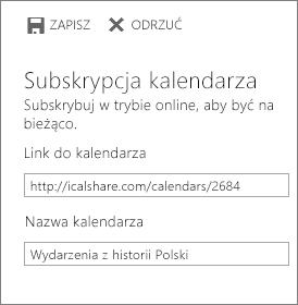 Link do kalendarza online