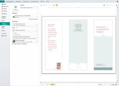 Przegląd ustawień drukowania w programie Publisher