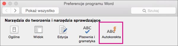 W preferencjach programu Word kliknij pozycję Autokorekta, aby zmienić to, co może zmieniać autokorekta w dokumencie.