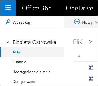 Zrzut ekranu przedstawiający widok Pliki w usłudze OneDrive dla Firm