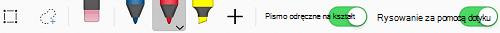 Podstawowe narzędzia pisma odręcznego na karcie Rysowanie aplikacji pakietu Office System iOS