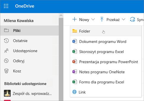 Tworzenie folderu w usłudze OneDrive