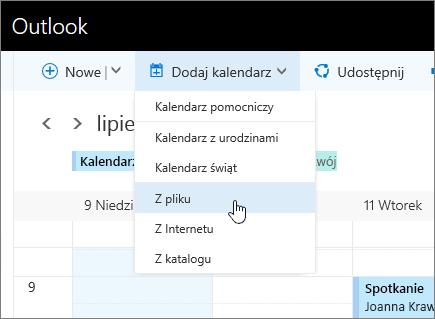 Zrzut ekranu przedstawiający listę Dodaj kalendarz z wybraną pozycją Z pliku.