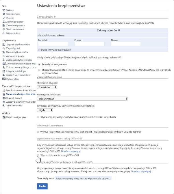 Zrzut ekranu: pole wyboru Wymuś tożsamość usługi Office 365 w usłudze Yammer na stronie Ustawienia bezpieczeństwa usługi Yammer. Aby wyświetlić to ustawienie, musisz być administratorem zweryfikowanym w usłudze Yammer i administratorem globalnym usługi Office 365.