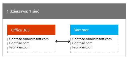 Jednej dzierżawy usługi Office 365 mapowane na jedną siecią usługi Yammer