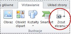 Przycisk Zrzut ekranu