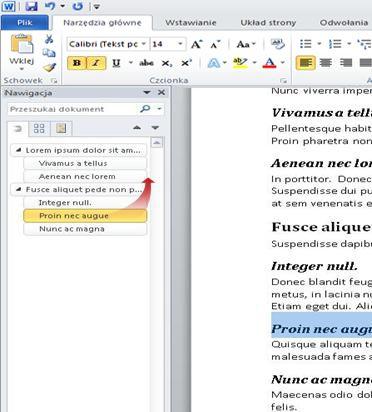 Nawigowanie w dokumencie