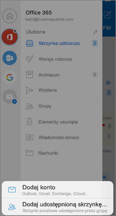 Ekran ustawienia programu Outlook z opcją Dodaj udostępnioną skrzynkę pocztową