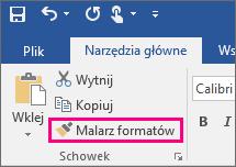 Przycisk Malarz formatów na karcie Narzędzia główne w programie Word