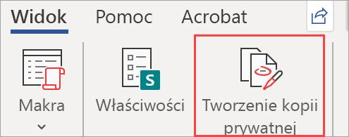 Przedstawia przycisk Utwórz kopię prywatną w dokumencie