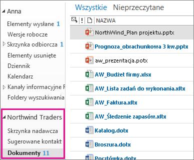 Skrzynka pocztowa witryny w programie Outlook