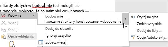 Błąd pisowni w dokumencie programu Word