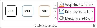 Grupa Style kształtów na karcie Narzędzia do rysowania > Formatowanie
