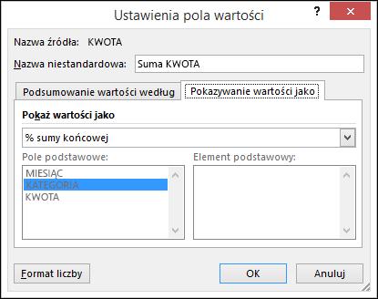 Okno dialogowe Ustawienia pola wartości tabeli przestawnej z kartą Pokazywanie wartości jako