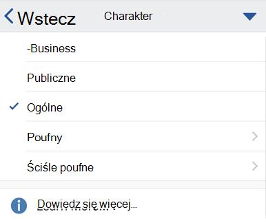 Uwzględnianie menu iOS z etykietami charakter wyświetlane