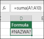 Program Excel wyświetla błąd #NAZWA?, gdy nazwa funkcji zawiera literówkę