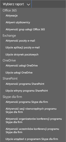 Wybieranie raportów dostępnych w usłudze Office 365