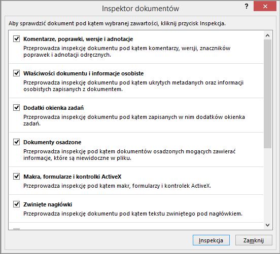 Opcje w oknie dialogowym Inspektor dokumentów