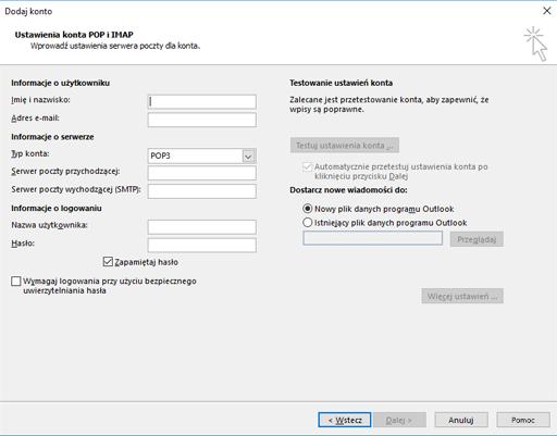 Wprowadzanie informacji o serwerze POP lub IMAP