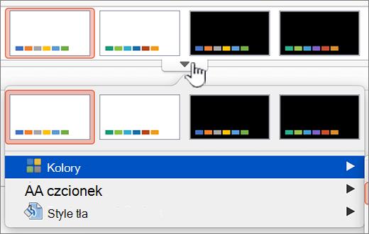 Kliknij, aby wyświetlić więcej opcji kolorów na motywy