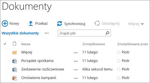 Zrzut ekranu przedstawiający bibliotekę dokumentów w programie SharePoint Server 2016