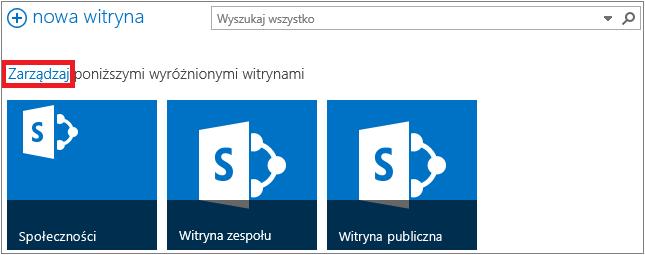 Przykładowa strona Witryny z wyróżnionym linkiem Zarządzaj