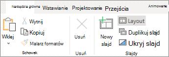 Przycisk Układ na Wstążce karty Narzędzia główne w aplikacji PowerPoint Online.