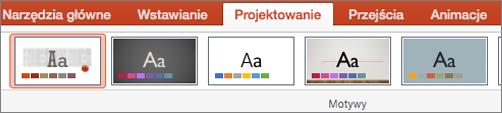 Kliknij kartę Projektowanie, a następnie wybierz przycisk Motywy.