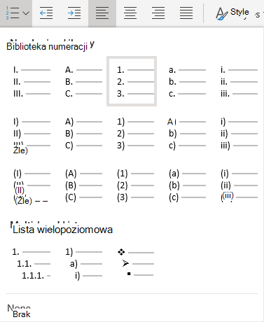 Menu numeracja w aplikacji Word Online