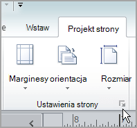 Przycisk uruchamiania okna dialogowego Ustawienia strony